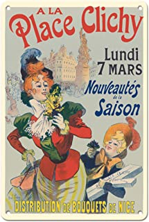 Pacifica Island Art 8in x 12in Vintage Tin Sign - A La Place Clichy - Paris, France - Nice Flower Bouquets Distribution by Rene Pean