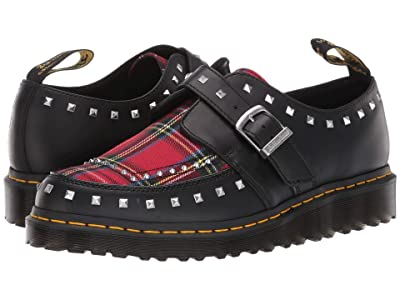 Dr. Martens Ramsey Monk Creepers (Black/Red Stewart Smooth/Tartan Fabric) Shoes