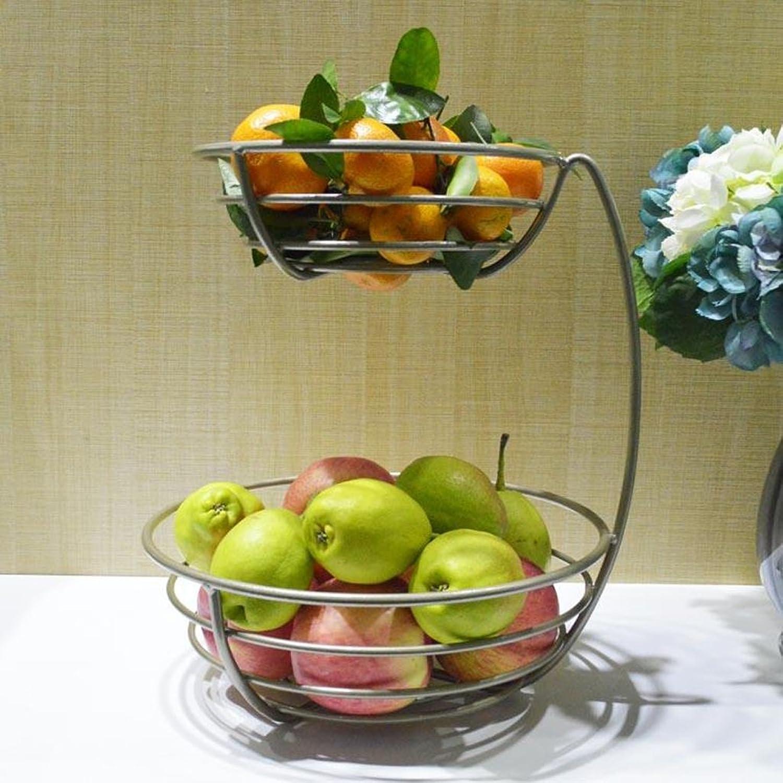 MLMHLMR Fruit Pot Fruit Pot Salon Créatif Deux-Couche Fruits Panier Fleur Panier Fleur Rack Cuisine Stockage Fer Rack Rack Assiette de Fruits (Couleur   Champagne Couleur)