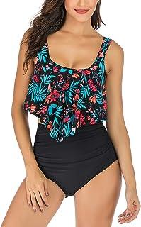 IceUnicorn Womens Flounced Swimsuits Two Piece High Waisted Vintage Bikini Set