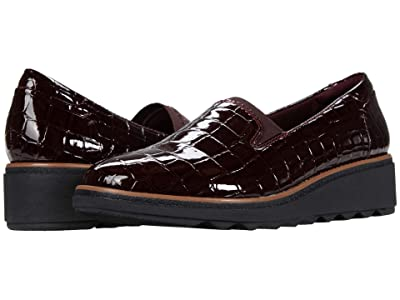 Clarks Sharon Dolly (Burgundy Synthetic Croc Patent) Women