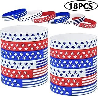 18 Pcs American Flag Silicone Bracelet, USA Silicone Bracelets Wristbands, American Flag Red White and Blue Bracelet for Kids, Teens, Adults Sports