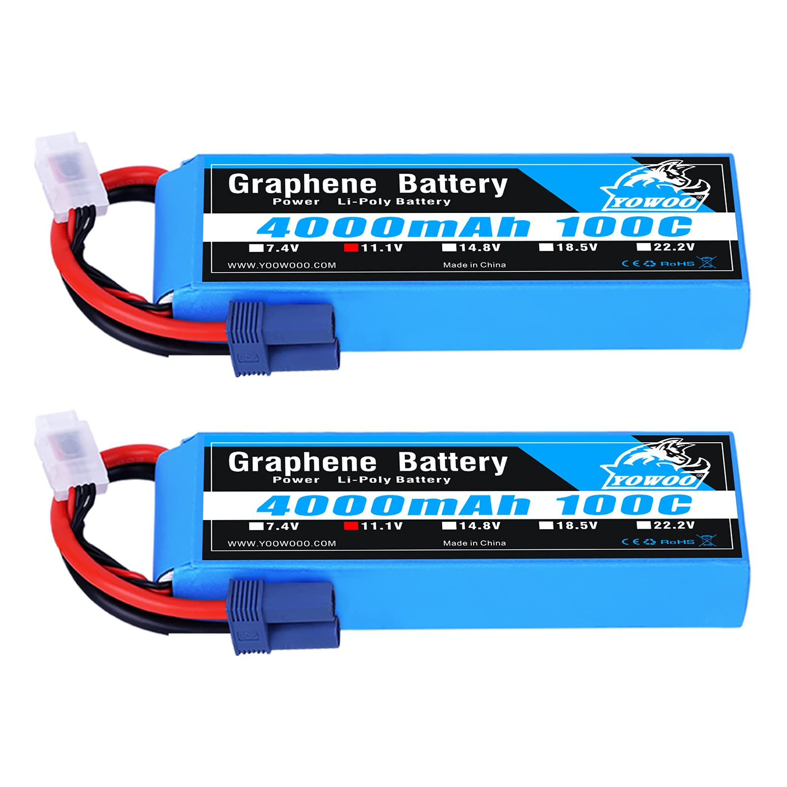 2 Baterias LIPO Grafeno 11.1V 4000mah 100C 3S EC3 Plug YoWoo
