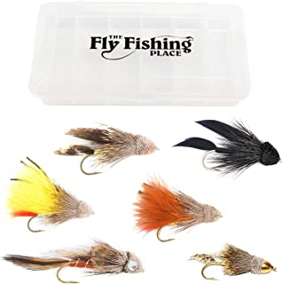 The Fly Fishing Place Muddler Minnow and Sculpin Streamer Flies - Set of 6 Bass and Trout Fly Fishing Flies - Hook Sizes 2. 4 and 6 with Fly Box