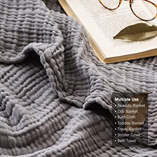 EMME 100% Cotton Muslin Blankets for Adults 4-Layer Breathable Muslin Throw Blanket Pre-Washed Lightweight Bed Blankets Soft Cotton Blanket All Season (Grey, 55