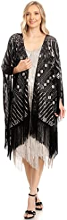Anna-Kaci Women Oversize Hand Beaded Fringed Sequin Evening Shawl Wrap Cover Up