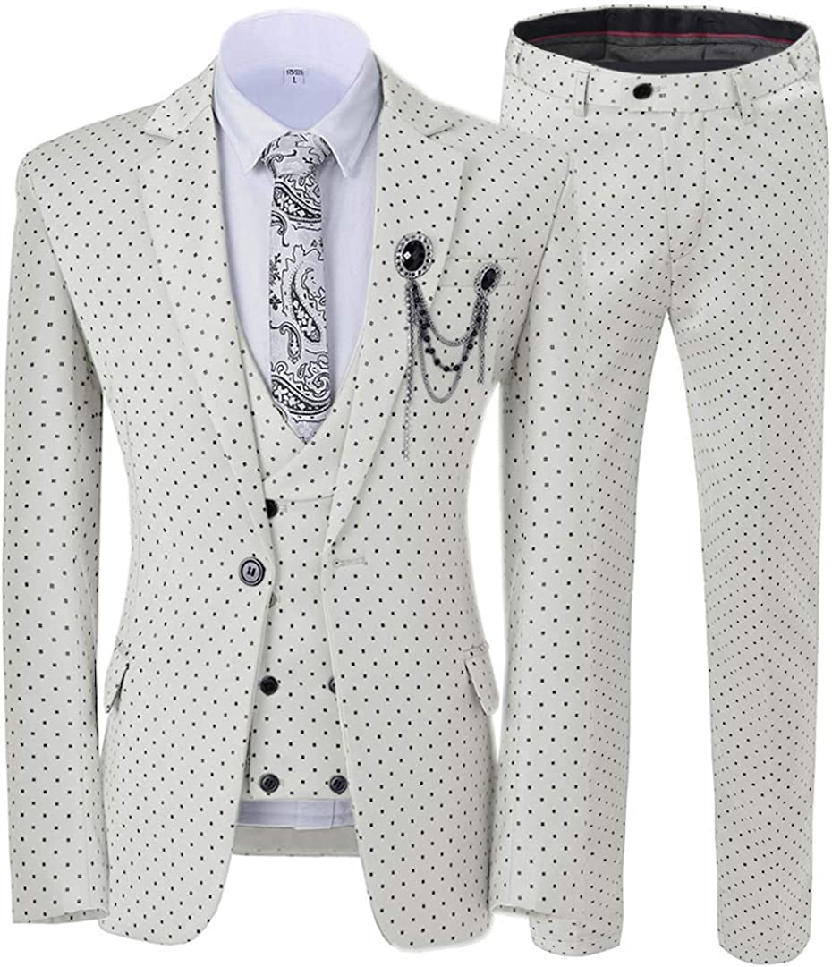 ToonySume Casual Men's Suits Slim Fit 3 Piece Prom Tuxedos Square Pattern Business Suit Wedding Grooms(34,Ivory)