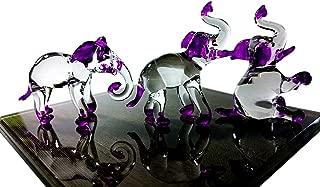 Sansukjai Set 3 Elephant Figurines Animals Hand Painted Purple Hand Blown Glass Art Collectible Gift Decorate
