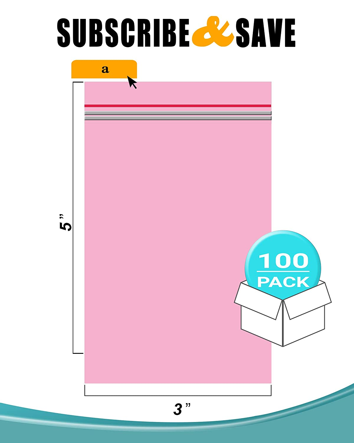 APQ Pack of 100 Anti-Static Seal Top Bags Zip Locking Bags 3x5 Ultra Thick 4 Mil Polyethylene Packs Amine Free. Storing Great for Packaging Ideal for Industrial Applications Pink 3 x 5