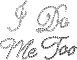 2 Assorted Wedding Rhinestone Shoe Decals Stickers Applique I Do and Me Too White Total 2 pcs by e-muse