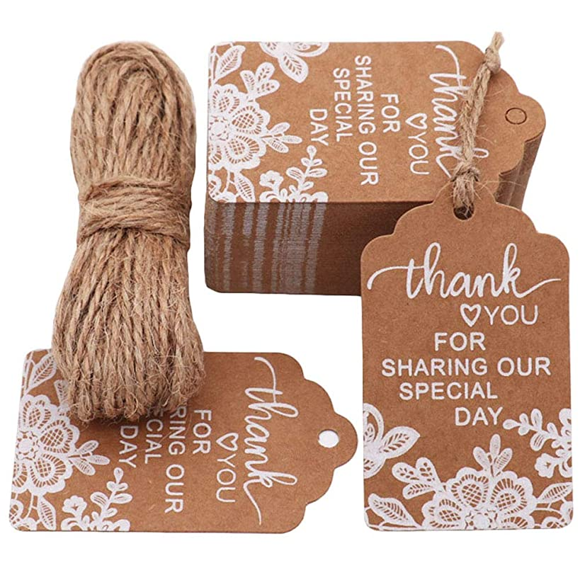 MAMUNU Thank You for Sharing Our Special Day Tags, 100 PCS Kraft Tags with 20 Meters Natural Jute Twine for Wedding, Baby Shower, Thanksgiving and Party Decoration (Brown 02)