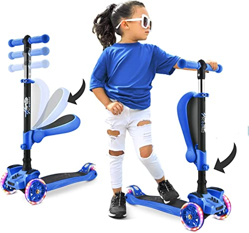 3 Wheeled Scooter for Kids - Stand & Cruise Child/Toddlers Toy Folding Kick Scooters w/Adjustable Height, Anti-Slip D...