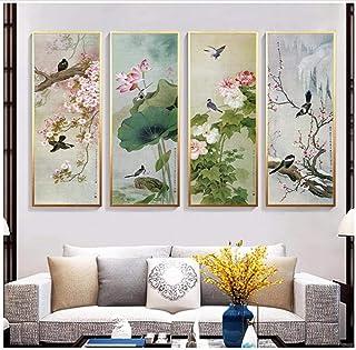 KBIASD Pittura cinese tradizionale del fiore di loto prugna, la bellezza nazionale della Cina Stampa su tela Poster-30 * 9...