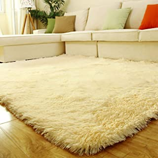 Uheng 2.6' x 6.6' Super Soft Indoor Modern Shag Area Silky Smooth Fur Rugs Fluffy Rugs Anti-Skid Shaggy Area Rug Dining Living Room Home Bedroom Carpet Floor Mat - Yellow