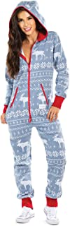 Women's Christmas Onesie Pajamas - Grey Moose Adult Holiday Jumpsuit