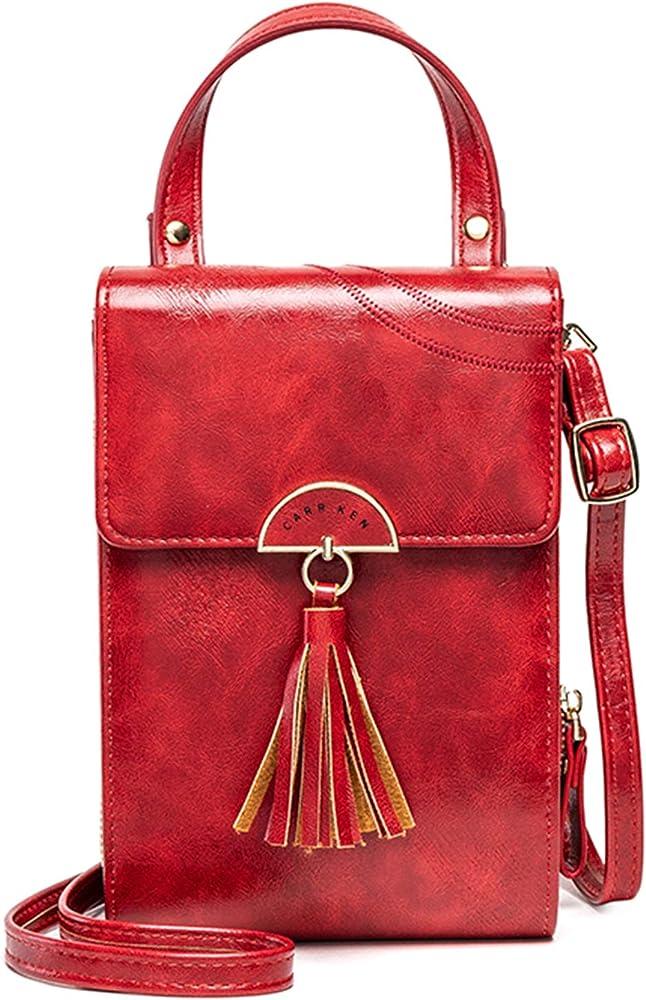 Cotwoco borsello a mano/ tracolla da donna con scomparto porta caellulare in pelle sintetica #Vino Rosso