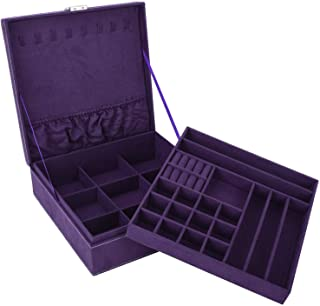 Autoark Two-Layer Lint Jewelry Box Organizer Square Display Storage Case with Lock,Removable Partition for Necklace Earrings Bracelets Rings Watches and Accessories Case,Purple,AW-044