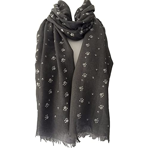 4f0d9db262 LilyRosa® Women's Paw Print Pattern Cotton Blend Cats Dogs Paws Scarf, Dog  Cat Grey