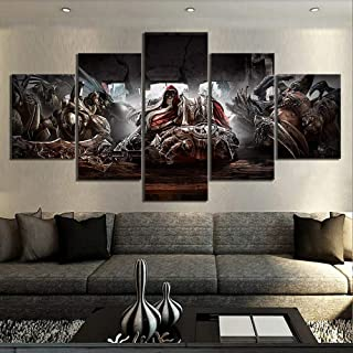 XIAOAGIAO 5 Canvas Prints 5pcs Darksiders Game Video Poster Wall Paintings Art Knight war Photo Wall Paintings for Home Decoration, Wall Art Painting on Canvas