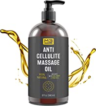 M3 Naturals Anti Cellulite Massage Oil Infused with Collagen and Stem Cell Natural Essential Oil Lotion Firm Tighten Skin Tone Unwanted Fat Tissue Stretch Mark Removal Cream Massager Fascia Blaster