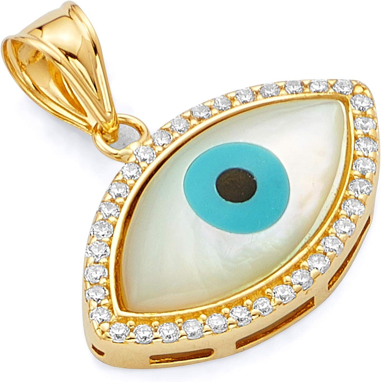 14k Yellow Gold CZ Evil Eye Charm Pendant (Size : 20 x 20 mm)