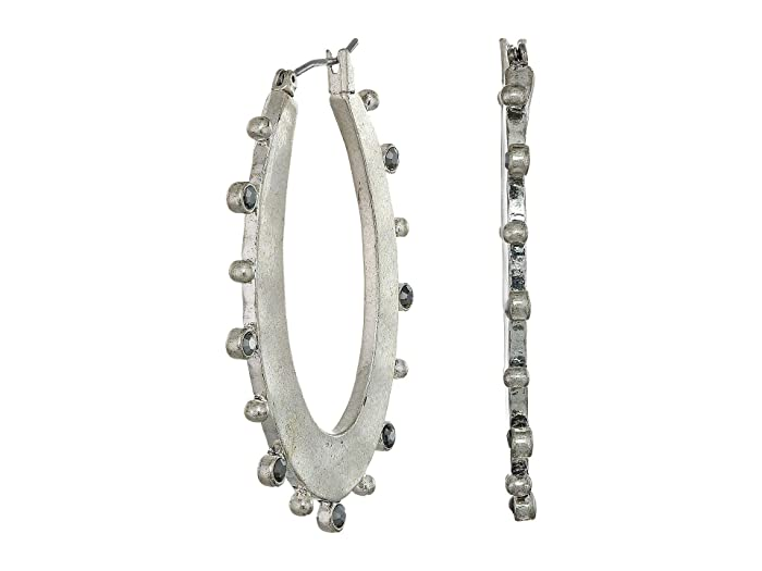 Lucky Brand  Textured Oval Pave Hoop Earrings (Silver) Earring