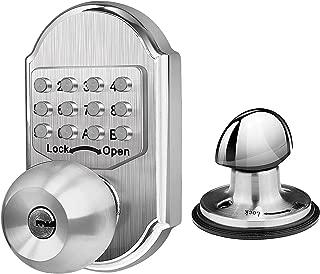 Elemake Deadbolt Door Lock, Mechanical Keyed Keyless Entry Door Lock, Knob Handle Stainless Steel Digital Combination High Security No Need Battery, Suit as Front Door Lock, Gate Lock