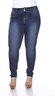 White Mark Women's Plus Size Mid Super Stretchy Ankle Skinny Denim Jeans