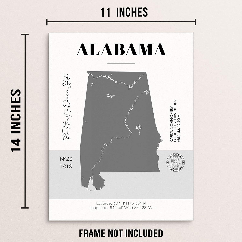 Amazon.com Alabama State Map Poster With Demographics Minimalist ...