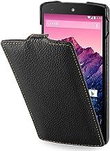 StilGut UltraSlim, Funda de Cuero Genuino para Google Nexus 5, Negro