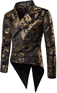Battnot Herren Smoking Blazer Slim Fit Gold Muster Anzug, Männer Mantel für Hochzeit und Party Business Casual Jacke Knopf Suit Regular Fit Charm Mens Fashion Modern Top Coat Outwear Bluse S-2XL