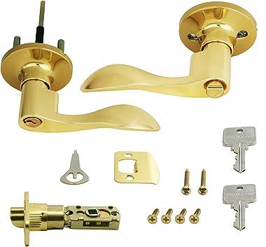 Honeywell Safes & Door Locks 8106001 Honeywell Locking Door Lever, Polished Brass