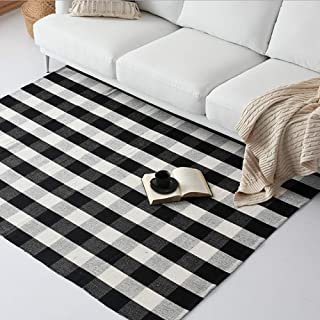 Ukeler Cotton Rug Hand-Woven Checkered Carpet Braided Kitchen Mat Black and White Floor Rugs Living Room Area Rug, 47.3''x70.8''