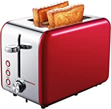 Bonsenkitchen 2 Slice Red Toaster, Extra Wide Slot 5.5''*1.4'' for Bagel, 7 Browning Settings, Defrost/Bagel/Cancel Functions, Stainless Steel Bread Toaster