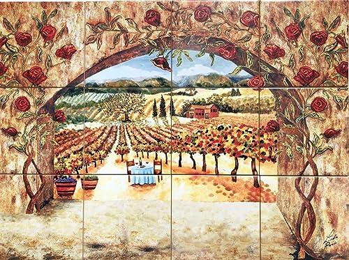 Amazon Com Vineyard Wine And Roses Kitchen Backsplash Tile Mural By Artist Linda Paul Handmade Products