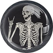 4 Pack ronde keuken kast knoppen Trekken (1-37/254.0 cm diameter) - Rock en Roll schedel Skeleton - dressoir lade/deur har...