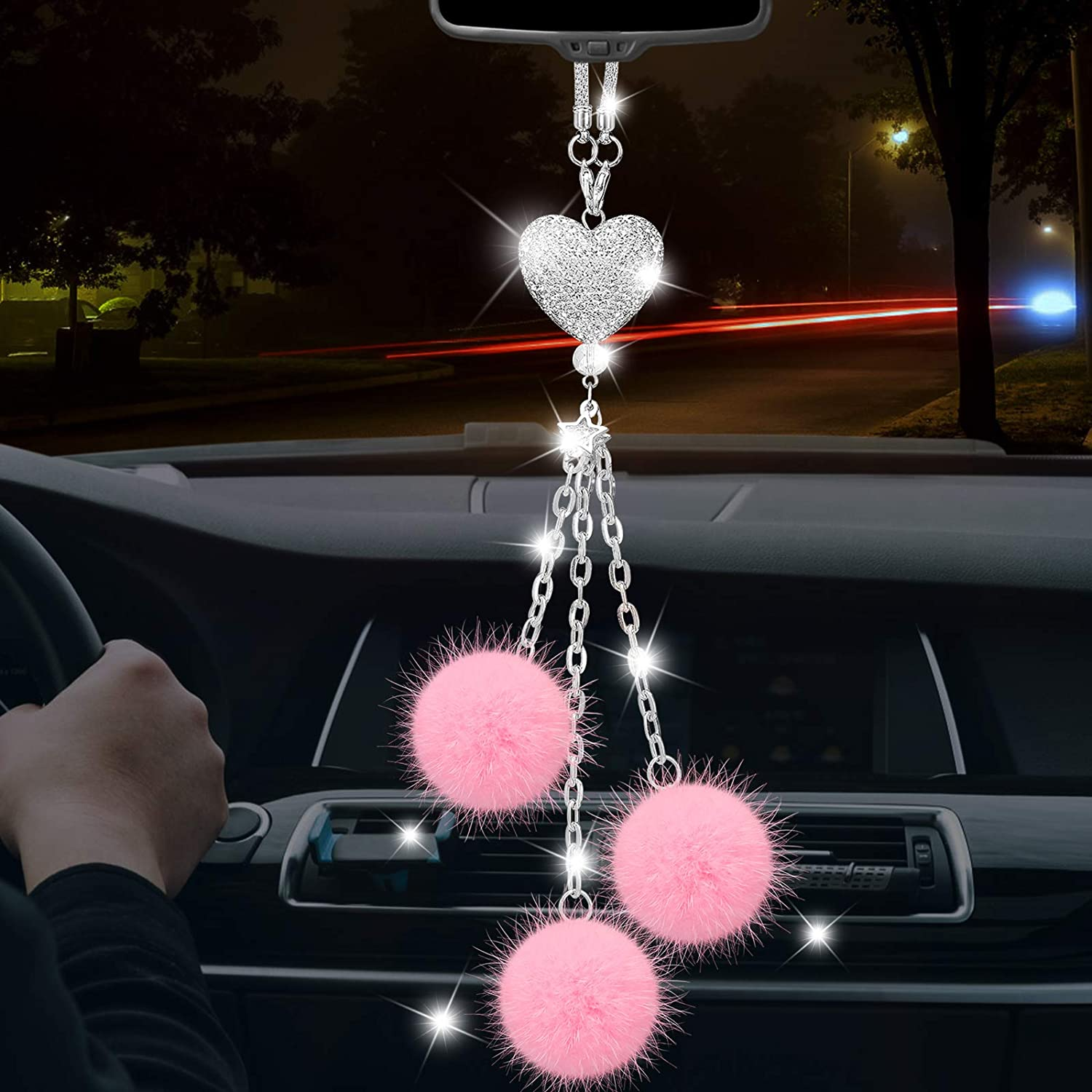 Bling Car Philadelphia Mall Accessories Fees free!! for Women Interior Rear View Hanging Cute