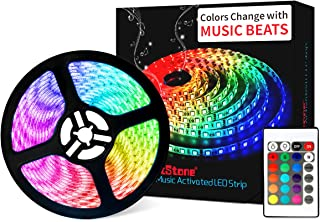 LED Strip Lights Music - DotStone Waterproof RGB LED Light Strip Kit 16.4ft SMD 5050 Tape Lights, Color Changing Rope Lights with Remote for Bedroom Home Kitchen TV Party Desk Room