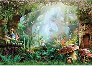 Allenjoy 7X5ft Spring Cartoon Fairy Tale Mushroom Enchanted Forest Wonderland Photography Backdrop Children Kids Fancy Bir...