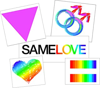 Temporary Tattoo Gay Pride Set for Men - Boyfriend Tattoo Gift - Semi-Permanent Tattoo Set - Gay Pride Accessory - Set of 10 Temporary Tattoos - 50% BULK Discount
