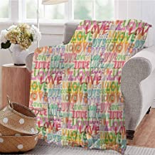 Luoiaax Love Commercial Grade Printed Blanket Colorful Romance Theme Typography Marriage Engagement Inspirations Queen King W57 x L74 Inch Multicolor