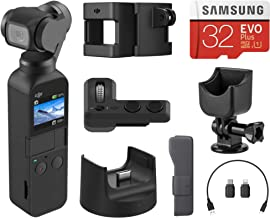 $409 » DJI Osmo Pocket Handheld 3 Axis Gimbal Stabilizer with Integrated Camera, Essential Bundle with Osmo Pocket Expansion Kit Part 13, Cradle, 32GB microSD
