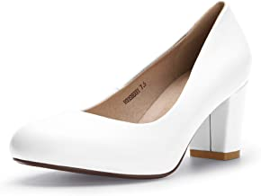 IDIFU Women's RO3 Sherry Round Toe Medium Block Heel Slip on Pumps Shoes