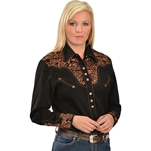 6d24d0b8 Scully Women's Silver Western Embroidered Shirt - Pl654-Slv