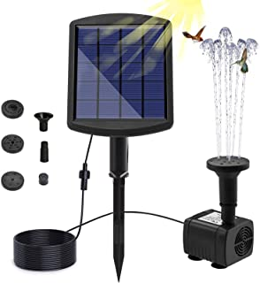 Weanas 9V 2.5W Solar Fountain Pump with Built-in Battery Backup, Free Standing Solar Powered Bird Bath Water Fountain Pump...
