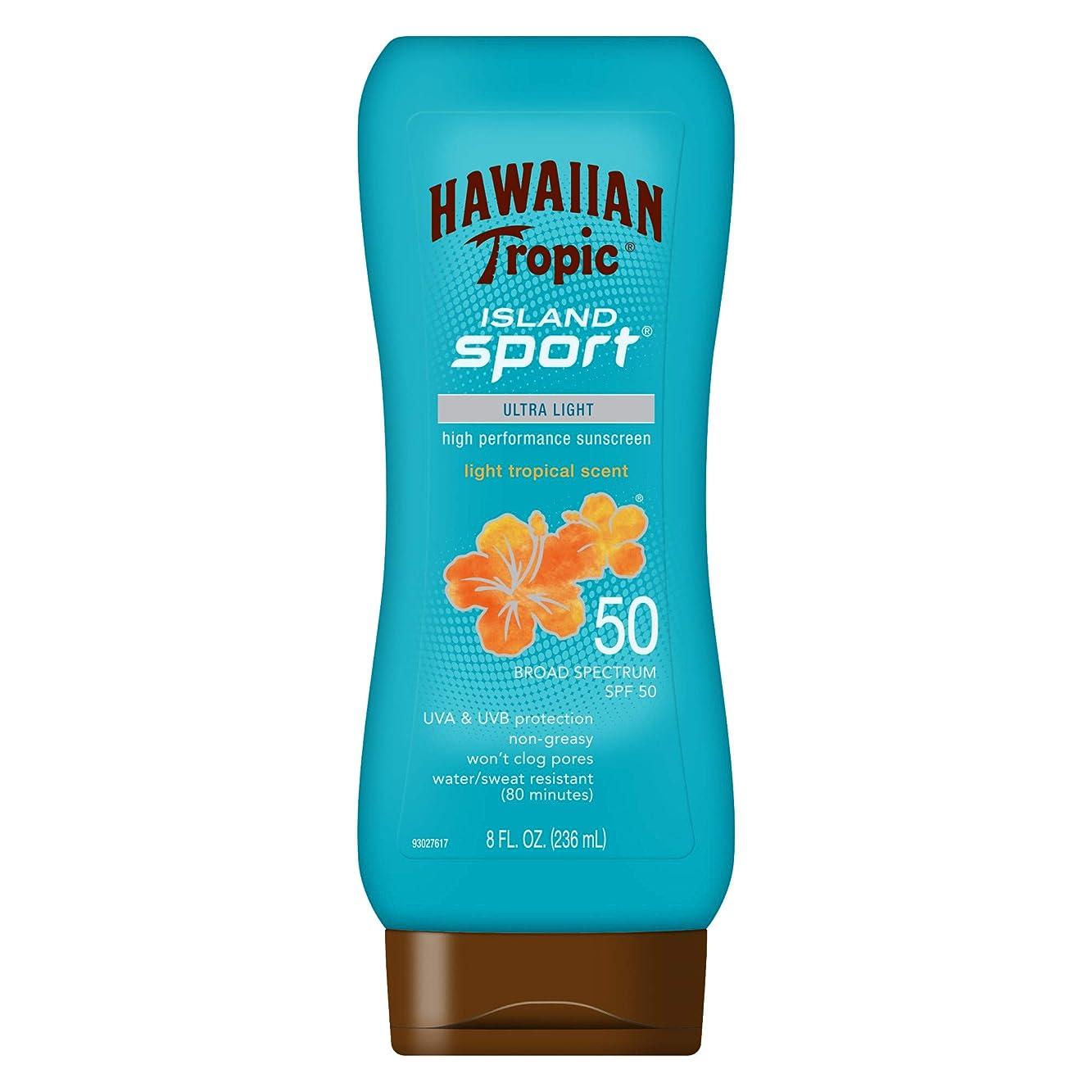 休暇落ち着かないメイエラHawaiian Tropic アイランドスポーツ広域スペクトル日焼け止めローション、SPF 50-8液量オンス