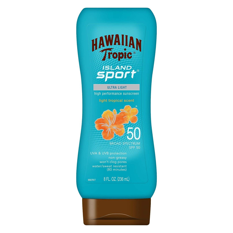 Hawaiian Tropic アイランドスポーツ広域スペクトル日焼け止めローション、SPF 50-8液量オンス