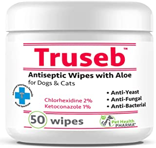Truseb | #1 Chlorhexidine Wipes with Ketoconazole and Aloe for Dogs, Cats and Horses Antifungal & Antiseptic Medicated 50 ...
