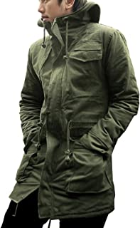 KMAZN メンズ モッズコート ミリタリージャケット 無地 厚手 防寒 フード付 ミリタリー 黒 緑 ロングコート