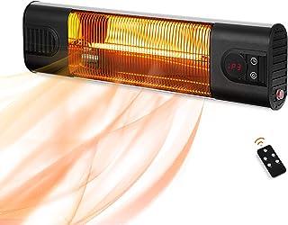 PAMAPIC - Calefactor eléctrico de pared para exteriores con control remoto, 3 ajustes de calor, calentador instantáneo par...